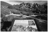 Condor Craggs interpretive sign. Pinnacles National Park ( black and white)