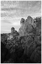 Rock towers and cirrocumulus clouds. Pinnacles National Park ( black and white)