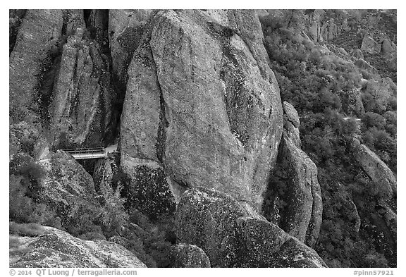 Footbridge dwarfed by rock pinnacles. Pinnacles National Park (black and white)