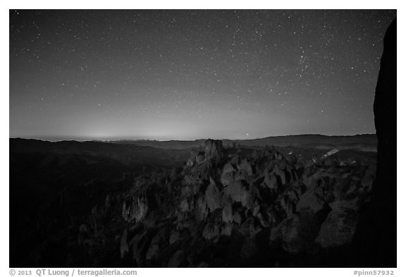 Square Block group of pinnacles at night. Pinnacles National Park (black and white)