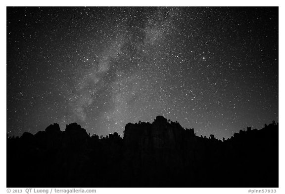 High Peaks pinnacles and Milky Way. Pinnacles National Park (black and white)
