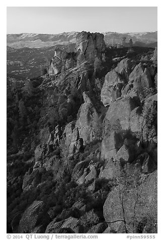 Last light on Pinnacles and Square Block Rock. Pinnacles National Park (black and white)