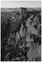 Last light on Pinnacles and Square Block Rock. Pinnacles National Park ( black and white)