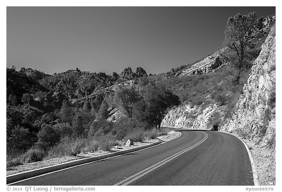 Bear Gulch road. Pinnacles National Park (black and white)