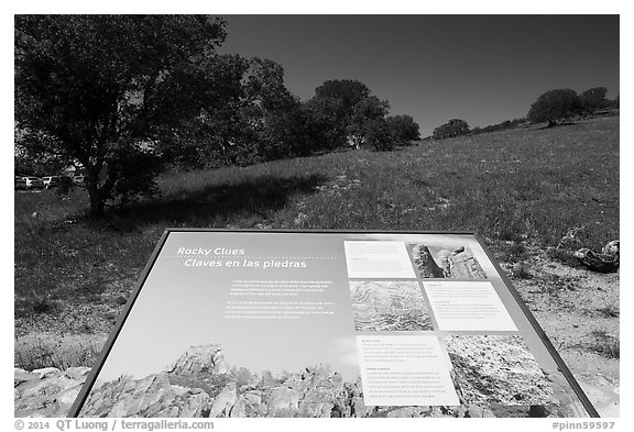 Interpretive sign near West entrance. Pinnacles National Park (black and white)