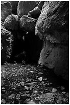 Stream and boulders, Bear Gulch Lower Cave. Pinnacles National Park ( black and white)