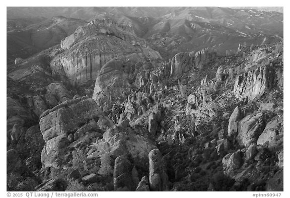Innumerable rock spires and cliffs seen at sunset. Pinnacles National Park (black and white)