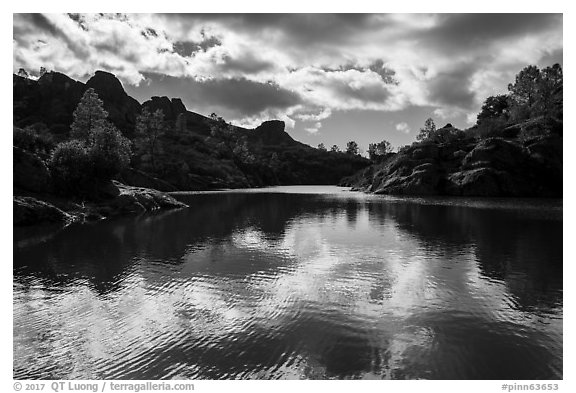 Bear Gulch Reservoir overflowing. Pinnacles National Park (black and white)