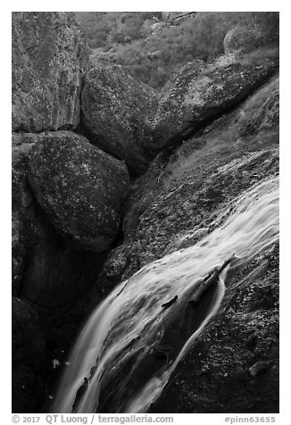 Bear Gulch Reservoir waterfall and boulder cave. Pinnacles National Park (black and white)