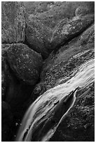 Bear Gulch Reservoir waterfall and boulder cave. Pinnacles National Park ( black and white)
