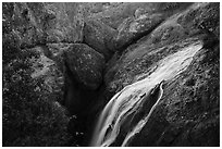 Bear Gulch Reservoir waterfall and upper cave. Pinnacles National Park ( black and white)