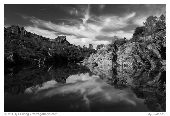 Bear Gulch Reservoir morning reflection. Pinnacles National Park (black and white)