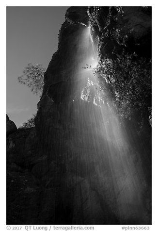 Moses Spring waterfall (slow). Pinnacles National Park (black and white)