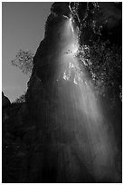 Moses Spring waterfall (slow). Pinnacles National Park ( black and white)