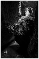 Jammed boulders, Lower Bear Gulch cave. Pinnacles National Park ( black and white)