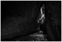 Stream in cave. Pinnacles National Park ( black and white)