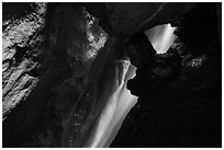 Waterfall in cave. Pinnacles National Park ( black and white)