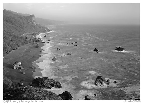 Split Rock from High Bluff overlook, sunset. Redwood National Park (black and white)