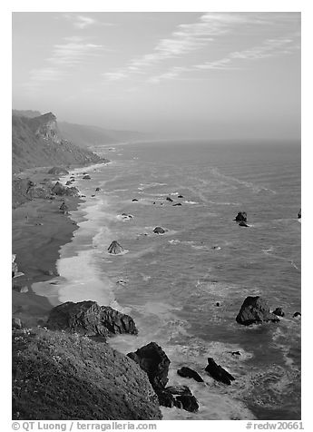 Coast from High Bluff overlook, sunset. Redwood National Park (black and white)