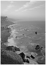 Coast from High Bluff overlook, sunset. Redwood National Park ( black and white)