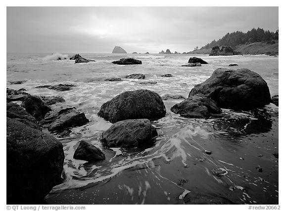 Sand, boulders and surf, Hidden Beach. Redwood National Park (black and white)