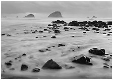 Wave motion over rocks in  purple light of dusk, False Klamath Cove. Redwood National Park ( black and white)
