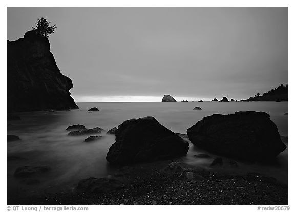 Rocks and seastacks, cloudy sunset, Hidden Beach. Redwood National Park (black and white)