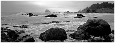 Misty seascape with boulders. Redwood National Park (Panoramic black and white)