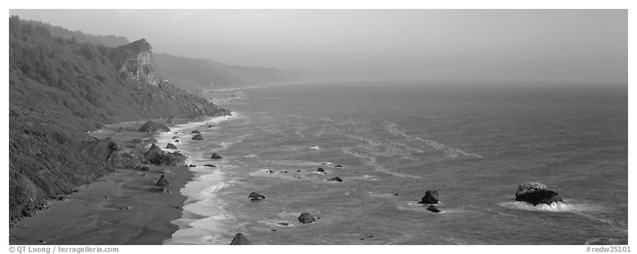 Coastline and bluffs. Redwood National Park (black and white)