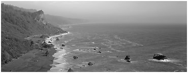 Coastline and bluffs. Redwood National Park (Panoramic black and white)