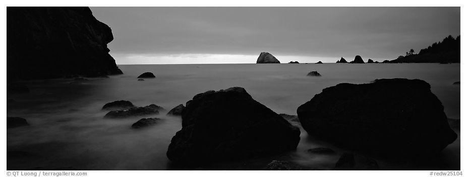 Boulders and seastacks and dusk. Redwood National Park (black and white)