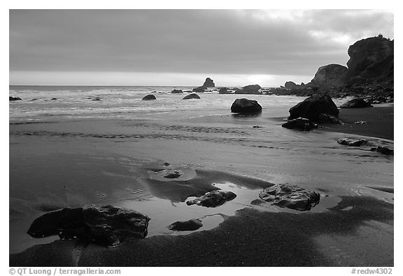 beach sunset black and white. stream beach and ocean at sunset false klamath cove redwood national park black white