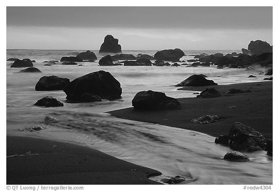 Stream, rocks, and ocean at dusk, False Klamath cove. Redwood National Park (black and white)