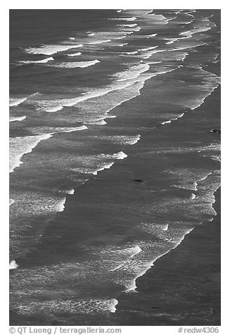 Succession of waves on Crescent Beach. Redwood National Park (black and white)