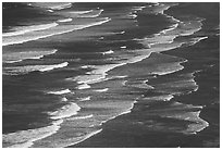 Surf on Crescent Beach, seen from above. Redwood National Park ( black and white)