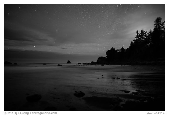 False Klamath Cove beach at night. Redwood National Park (black and white)