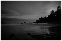 False Klamath Cove beach at night. Redwood National Park ( black and white)