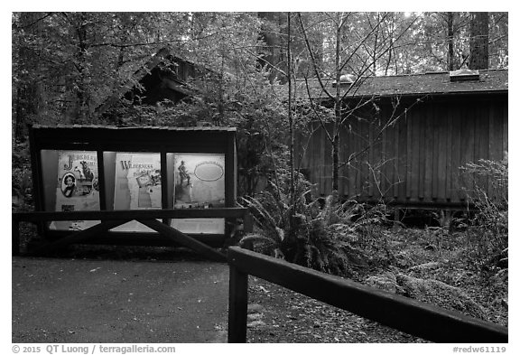 Exhibit and visitor center, Jedediah Smith Redwoods State Park. Redwood National Park (black and white)