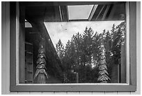 Redwood forest, Hiouchi Information center window reflexion. Redwood National Park ( black and white)