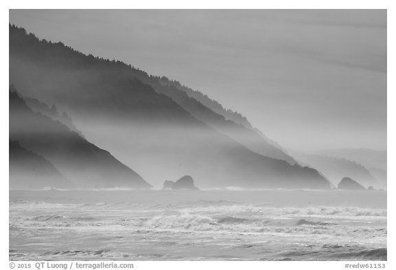 Surf and Coastal hills, Crescent Beach. Redwood National Park (black and white)