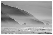 Surf and Coastal hills, Crescent Beach. Redwood National Park ( black and white)