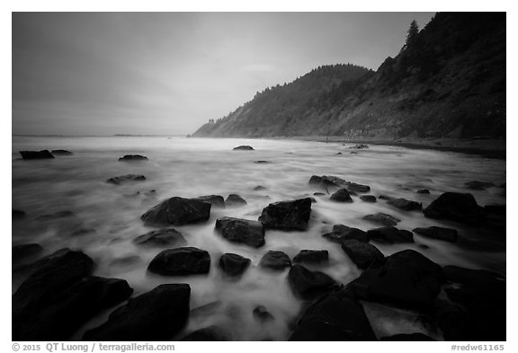 Rocks, surf in long exposure, Enderts Beach. Redwood National Park (black and white)