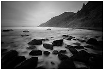 Rocks, surf in long exposure, Enderts Beach. Redwood National Park ( black and white)