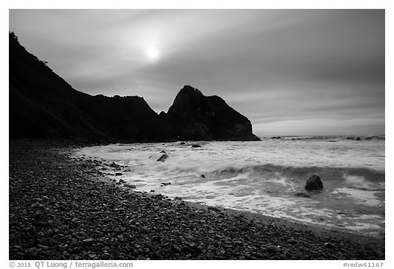 Sun, surf, and pebbles, Enderts Beach. Redwood National Park (black and white)