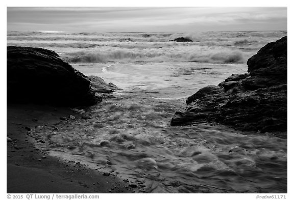 Stream meeting ocean, Enderts Beach. Redwood National Park (black and white)