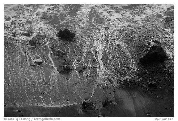 Beach and surf from above. Redwood National Park (black and white)