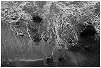 Beach and surf from above. Redwood National Park ( black and white)