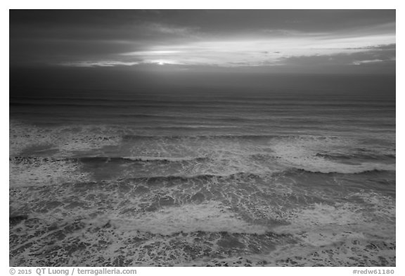 Elevated view of waves and sunset. Redwood National Park (black and white)