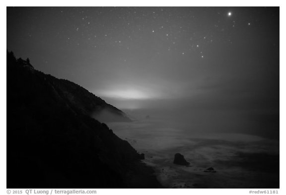 Coastal hills above Enderts Beach at night. Redwood National Park (black and white)