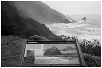 Enderts Beach, Seastacks interpretive sign. Redwood National Park ( black and white)